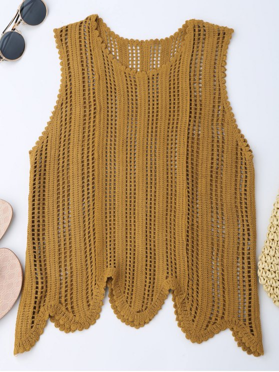 2019 Scalloped Crochet Tank Top In EARTHY ONE SIZE | ZAFUL