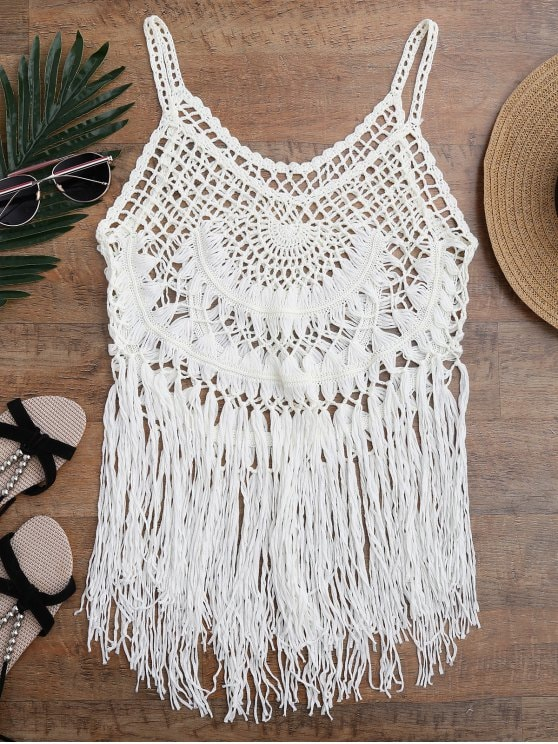 2019 Tasselled Crochet Tank Top Cover Up In OFF-WHITE ONE SIZE | ZAFUL