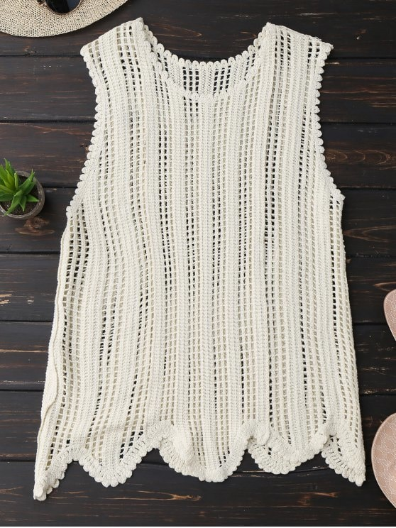 2019 Scalloped Crochet Tank Top In OFF-WHITE ONE SIZE | ZAFUL