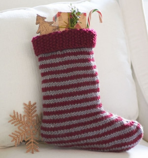 Striped Stocking | AllFreeKnitting.com