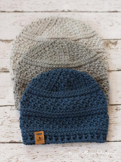 Seed Stitch Beanie Crochet Hat Pattern - Kirsten Holloway Designs