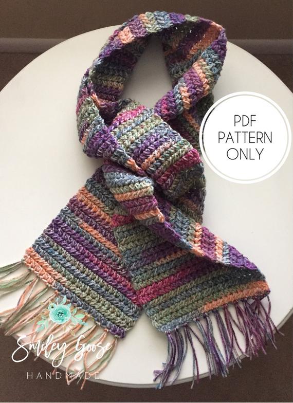 Crochet Scarf Pattern Kayson Scarf Easy Scarf Pattern Long | Etsy