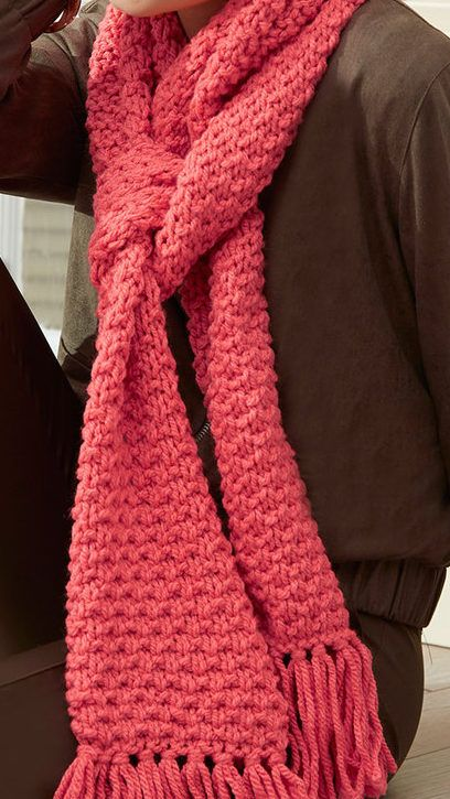 Free Knitting Pattern for Easy 4 Row Repeat Textured Scarf - This