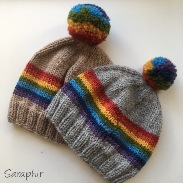 Knitted Child Bentie Pompom Beanie - by Saraphir
