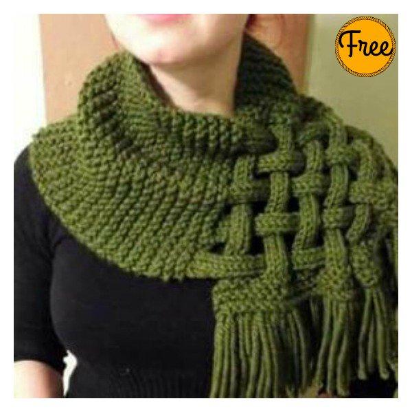Beautiful Celtic Knot Looped Scarf Free Knitting Pattern