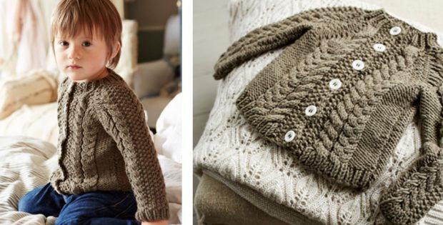 Kalen Knitted Toddler Cardigan [FREE Knitting Pattern]