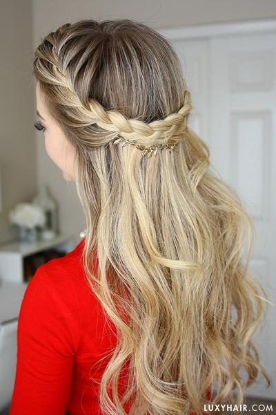 French Braid Crown Holiday Hairstyle u2013 Luxy Hair