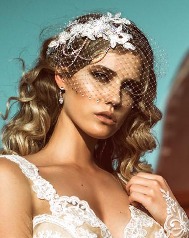 Bridal headpiece - lace and diamonte chains - Harlow deluxe by