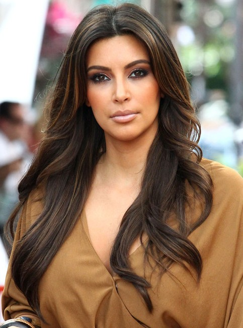 Kim Kardashian Long Hairstyles: Center-Parted Hairstyles - PoPular