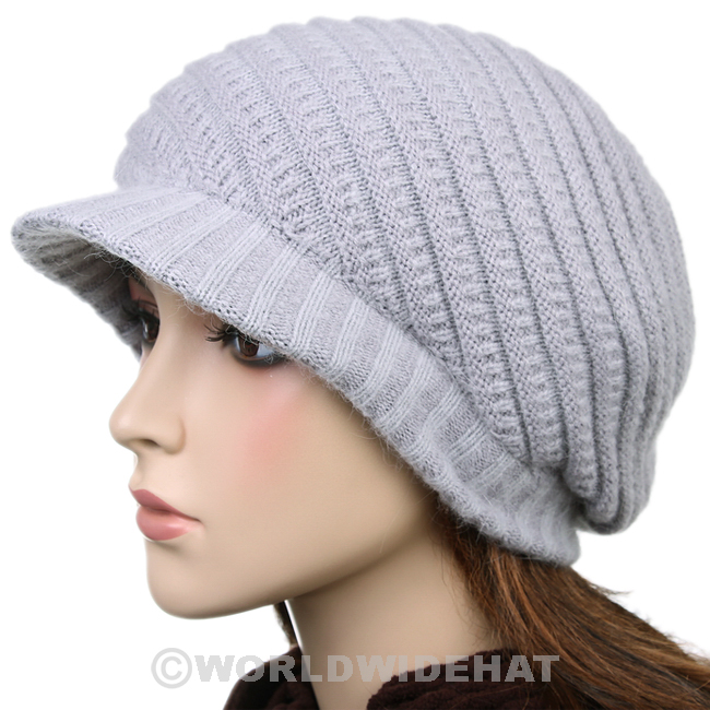 Modern Visor Beanie Knit Hat Winter Cap Lady Gray vs470g - Hats Caps