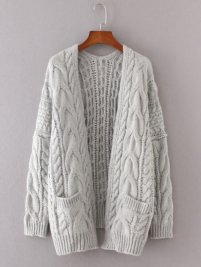 Drop Shoulder Cable Knit Cardigan | ROMWE
