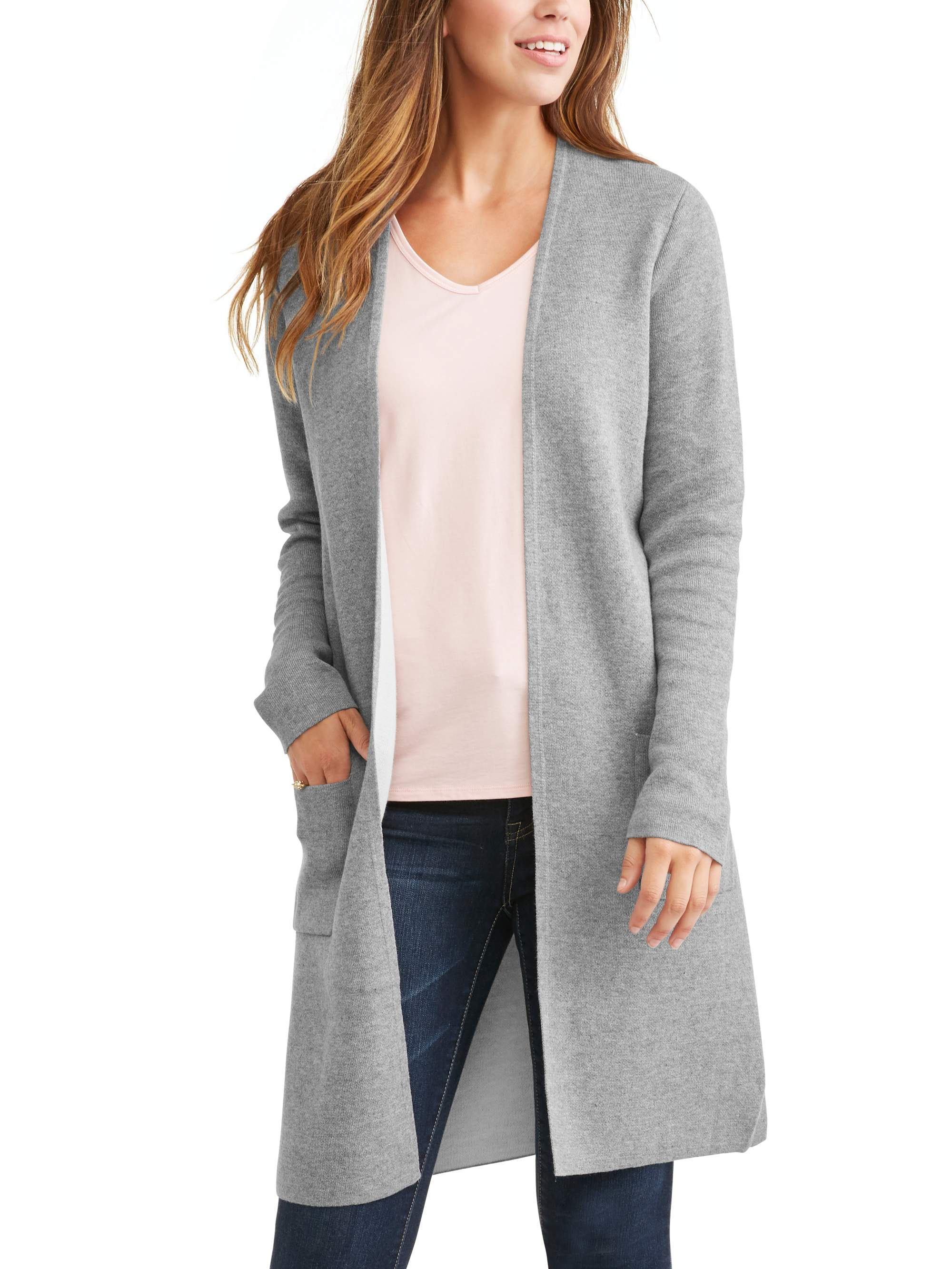 Time and Tru - Time and Tru Women's Double Knit Cardigan - Walmart.com