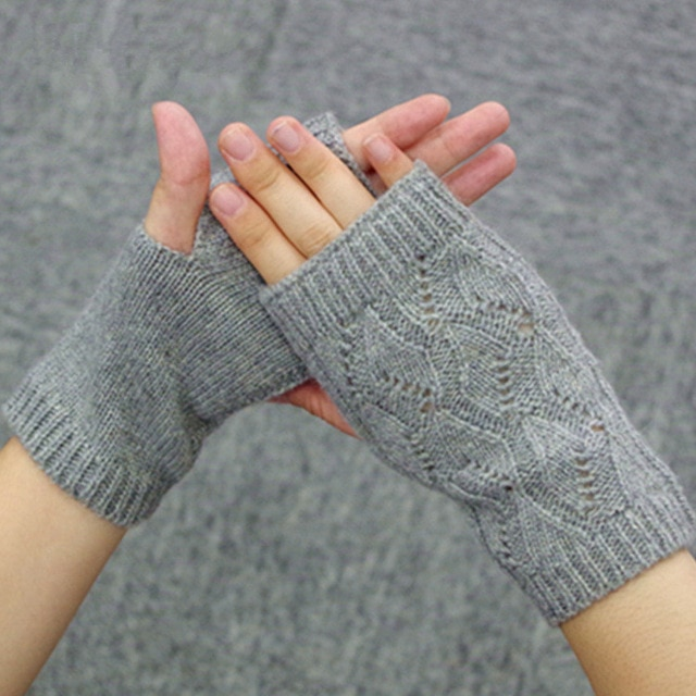 100% Cashmere Knitted Fingerless Gloves Women Winter Mittens Lovers