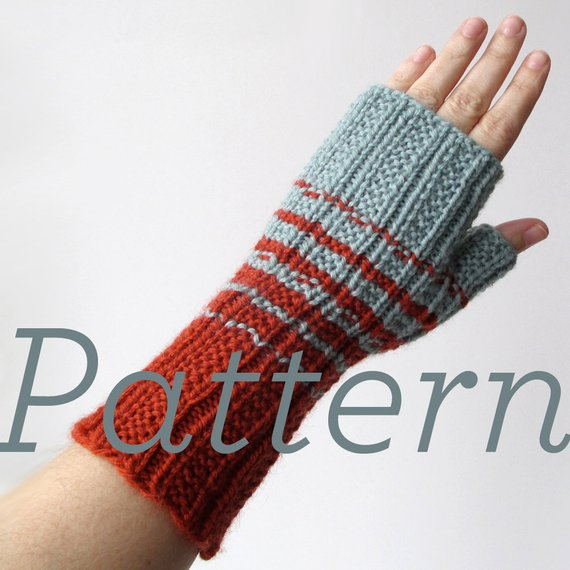 Knit Fingerless Gloves Pattern // Two-Color Fingerless Gloves | Etsy