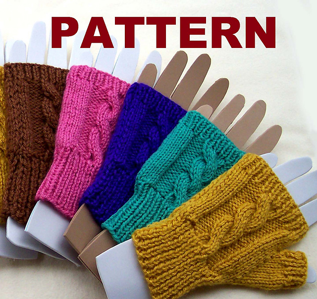 Ravelry: Cable Knit Fingerless Mittens pattern by Claudia Lowman