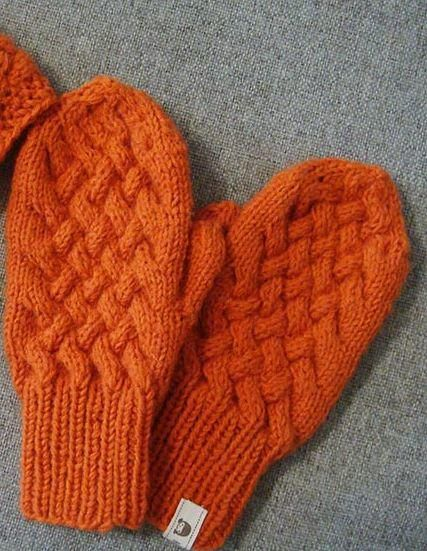 Orange Cabled Knit Mittens Pattern | How to Knit Mittens