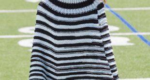 Game Day Knit Poncho | AllFreeKnitting.com