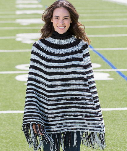 Game Day Knit Poncho | AllFreeKnitting.com