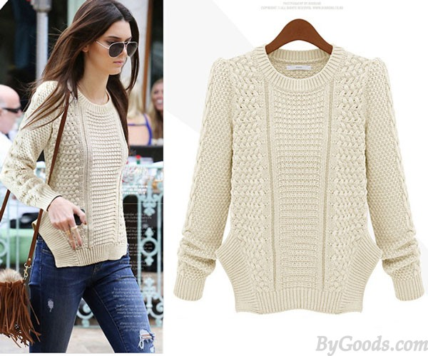 Personality Side Split Cable Knit Sweater | Sweaters & Cardigans