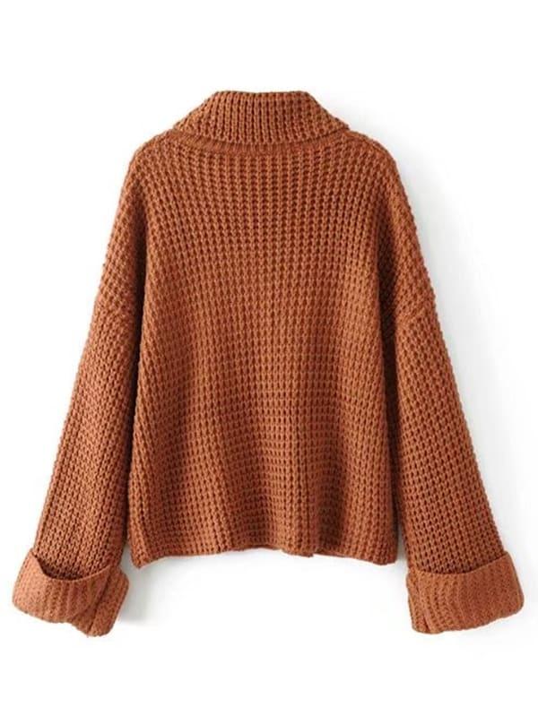 Turtleneck Waffle Knit Sweater | SHEIN