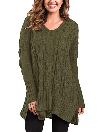Sidefeel Women Casual V Neck Loose Fit Knit Sweater Pullover Top at