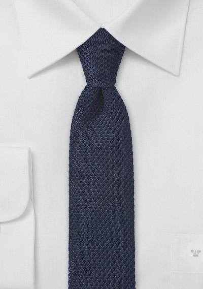 Skinny Knit Tie in Solid Navy Blue | Bows-N-Ties.com