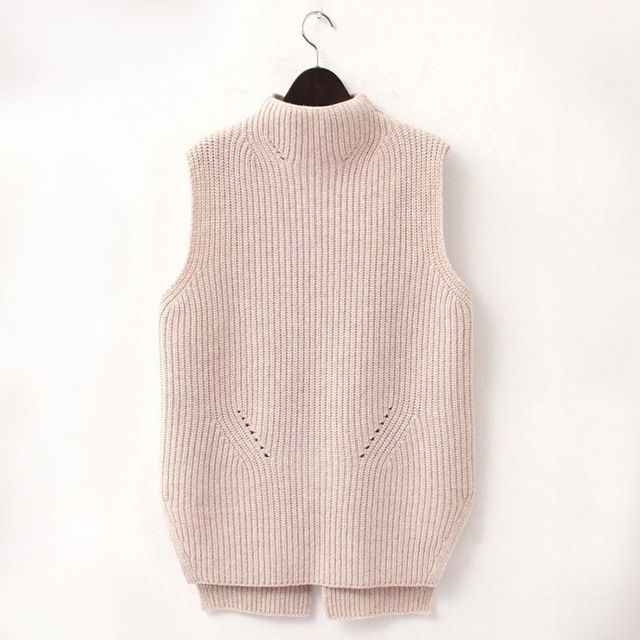 Fashion Hot Women High Neck Knit Vest Wool Knitwear Female Sweater