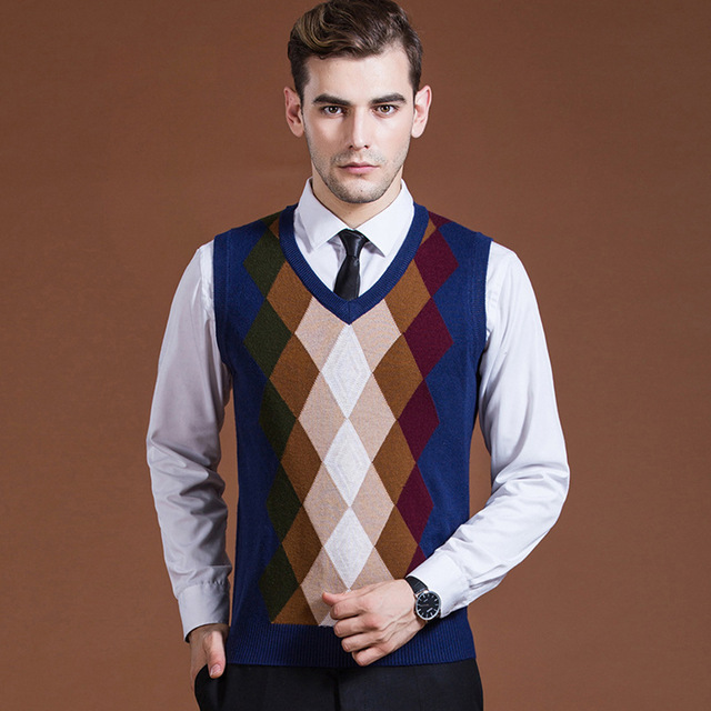 Sweater Pullover Knit Vest for Men Sleeveless Wool Stylish Fashion