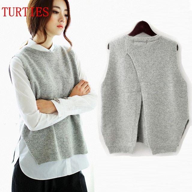 Spring New Cashmere Knit Vest back Split hedging loose Sweater Vest