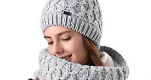Womens Winter Hat and Scarf Set for Girls Knitted Beanie Hat Pom Pom