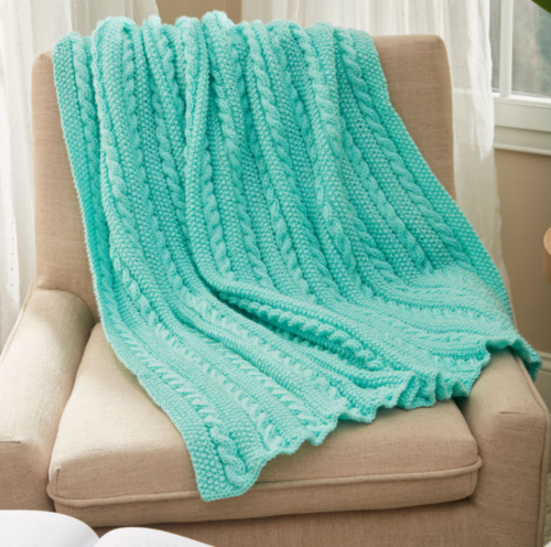 Easy Cable Knit Blanket Pattern | AllFreeKnitting.com