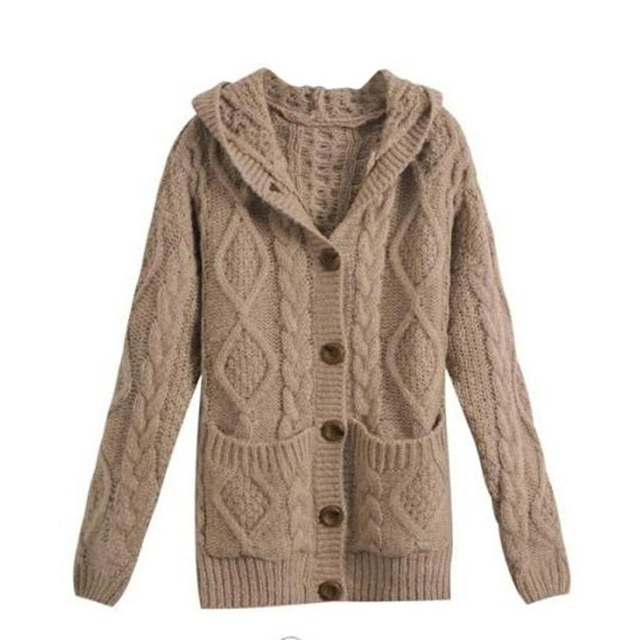 Winter 2018 Women Coat Knitted Cardigans Button Pocket Top Solid