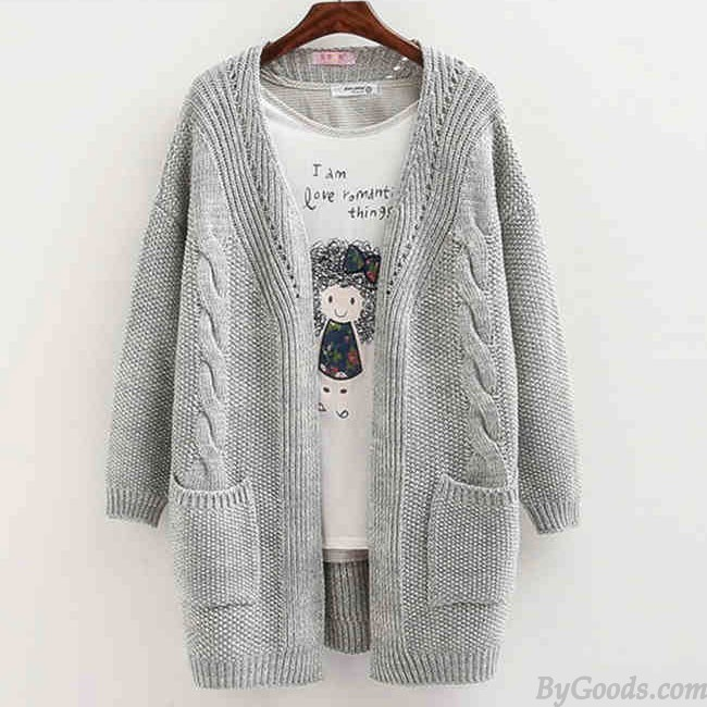 Women Long Sleeve Knitted Cardigan Loose Sweater Outwear Coat