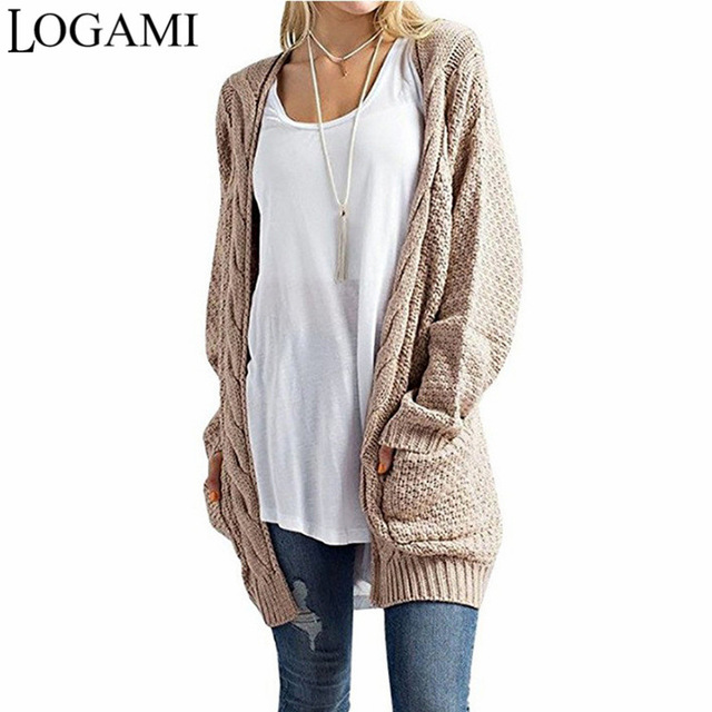 LOGAMI Long Cardigan Women Long Sleeve Knitted Sweater Cardigans