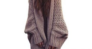 Mcupper-Women Oversized Loose Knitted Sweater Batwing Sleeve Taupe