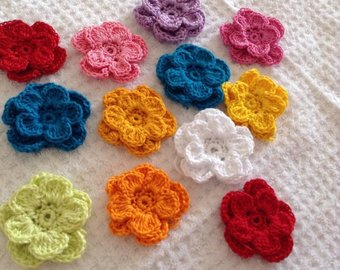 Knitted flowers | Etsy