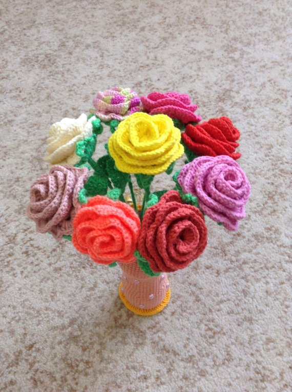 Knitted flowers.knitted Roses.the flowers are handmade.a | Etsy