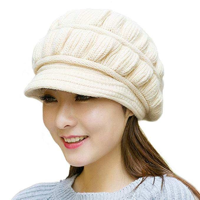 Muryobao Winter Hat Crochet Knit Slouchy Beanie Cap Outdoor Warm