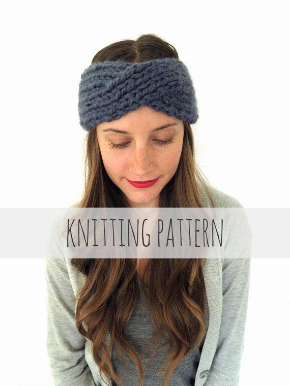 PATTERN for Chunky Soft Knit Turban Headband Ear Warmer // | Etsy