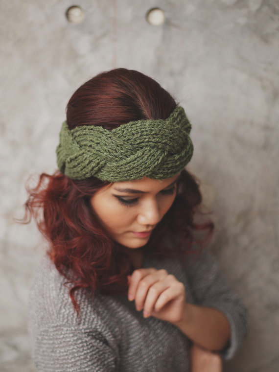NEW : Braided - Olive, Knit Headband, Head Warmer, Ear Warmer, KB-H