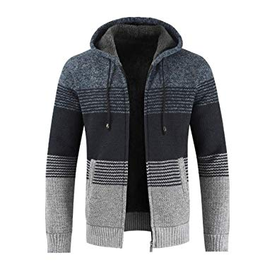 Amazon.com: Mens Cardigans Knitted Hoodie Jacket Long Sleeve Casual