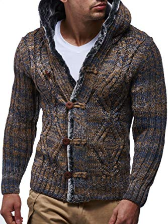 Amazon.com: Leif Nelson Men's Knitted Cardigan | Long-sleeved slim