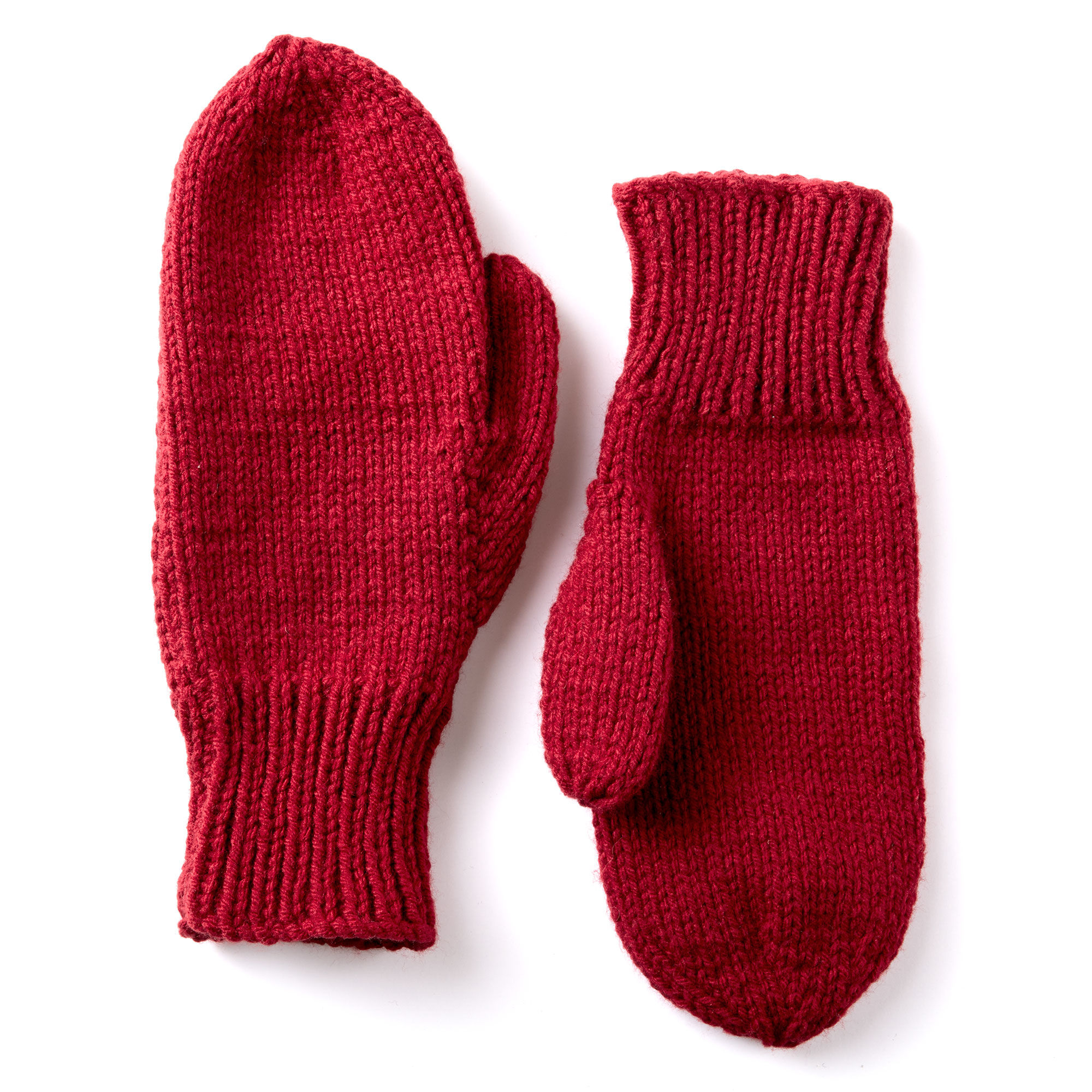 Caron Basic Family Knit Mittens | Yarnspirations