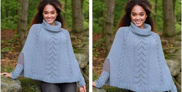 Stylish Fleetwood Knitted Poncho [FREE Knitting Pattern]