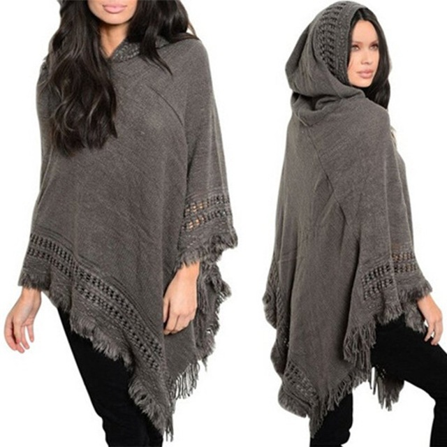 Casual Women Sweater Hooded Poncho And Cape Knitted Sweaters Tassel