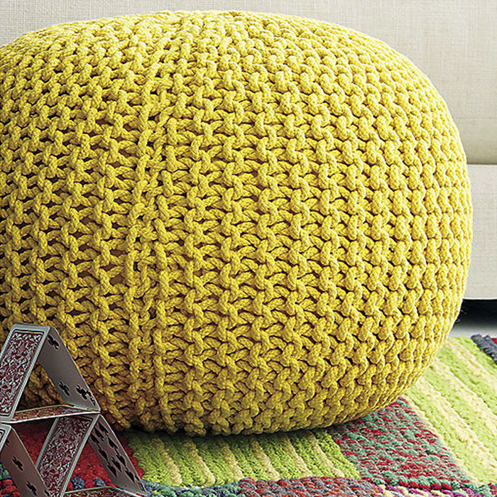 YELLOW KNITTED POUF u2014 RentQuest