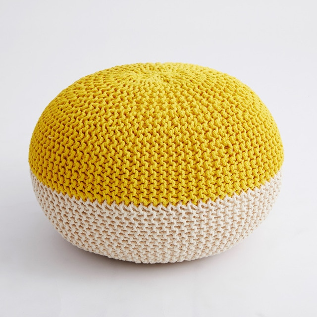 Handmade & Hand Stitched Modern Knitted Pouf Ottoman Footrest Stool