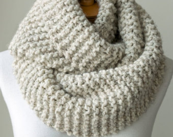 Knit scarf, chunky knitted infinity scarf in Pale Brown or Beige