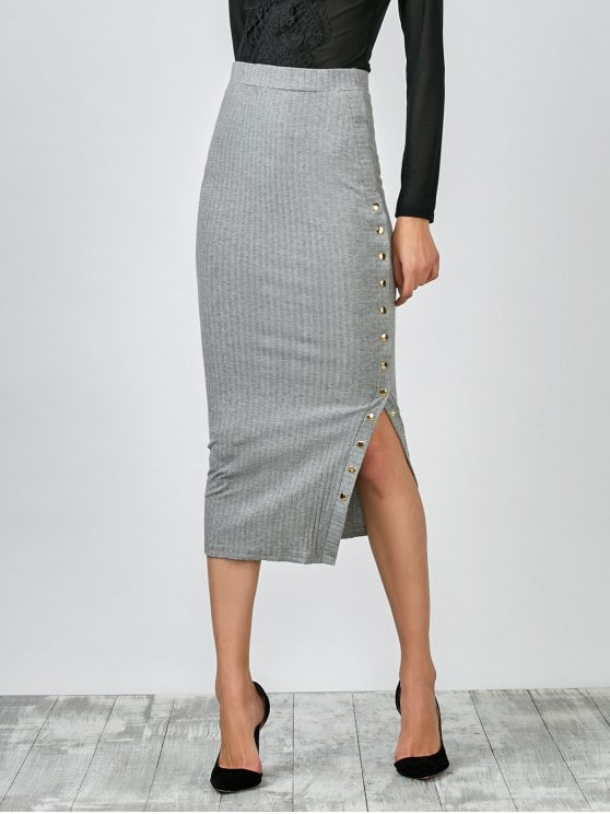 2019 Knitted Side Button Skirt In GRAY M | ZAFUL