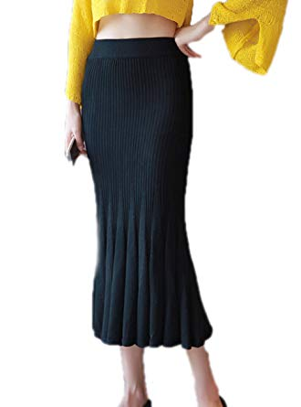 ASWear Women's Mid Waist Maxi Long Mermaid Skirt Knitted Long Skirts